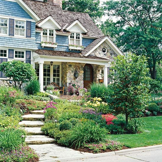 Use Repetition        Incorporate materials used on your home into your landscape to integrate the two. For example, if you have a stone facade, add a flagstone path. You can do the same thing with brick as well.        Another way to do this is to repeat siding in structures, such as a doghouse, or as an architectural accent on a gate or fence.