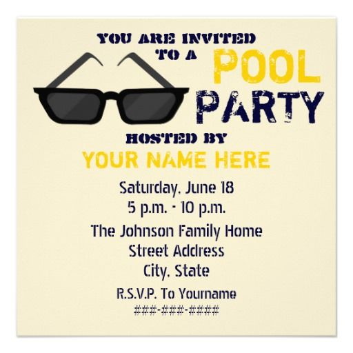 20 best pool party invitation templates images on pinterest pool party invitation black sunglasses filmwisefo