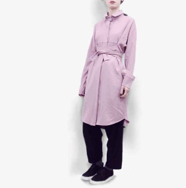Long Sleeve Shirt Dress Fumihiro in Terry Rayon Gabardine – Akira Mushi