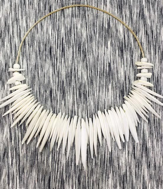 Handmade large wall hanging decor made from natural cuttlefish bones from the ocean. Available via Esty shop: feathernbone