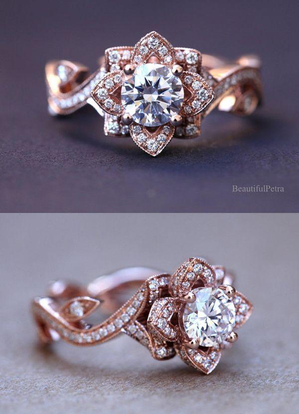flower lotus rose diamond engagement ring