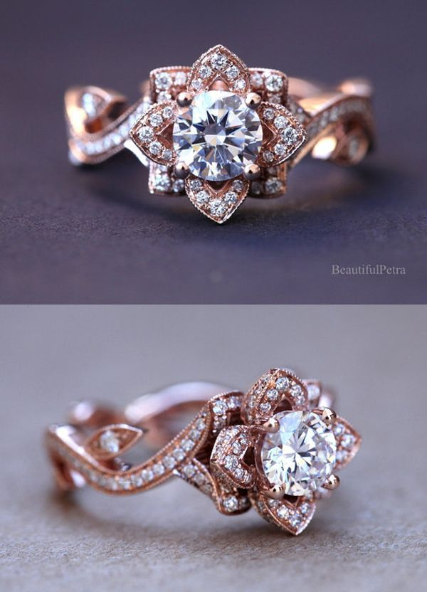 flower lotus rose diamond engagement ring