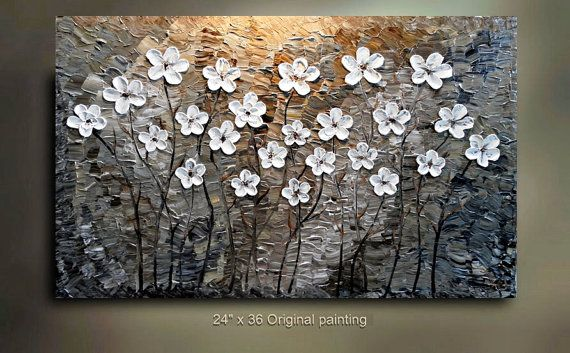 ORIGINAL 36x24 White Flower Abstract Painting tan by tjenkinsarts, $265.00