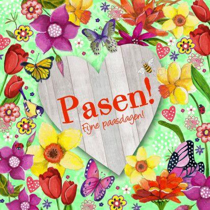 Vrolijke paaskaart met bloemen, vlinders en een hout hart om je tekst op te schrijven. Op zoek naar meer paaskaarten, ga naar --Pasen-- Cartita Design