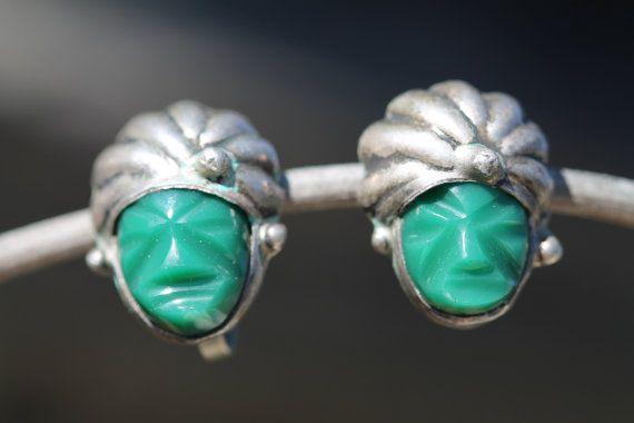 Sterling Silver, Screw Back, Earrings, Green Obsidian, Turban, Mask, Mexico, Ethnic, Vintage Jewelry
