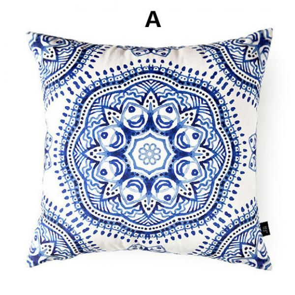 Flower pillow Blue and white porcelain cushions Chinese style