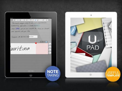 UPAD (UPAD lite) is an amazing app for teaching. I use it everyday when I teach. You can take notes, store and organize pdf's with the capability of writing on them, and pictures you can also write on. They have a blank music staff template that I use to write exercises for my students. Love it!