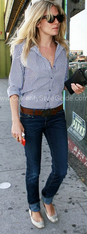 love the striped button down, skinnies, classic leather belt with buckle