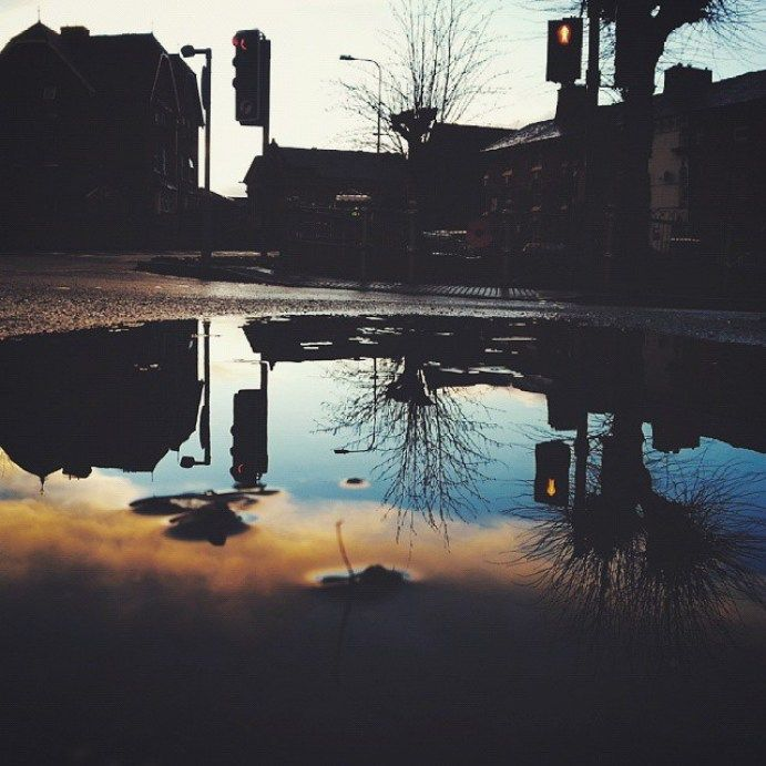 … and this. #reflection #water #reflections #puddleography #sunset #trafficlights #trees #street #beautiful #evening #newtown #powys #Wales #NewtownPowys #puddle #вечер #лужа - LinanDara's Art-n-Folk