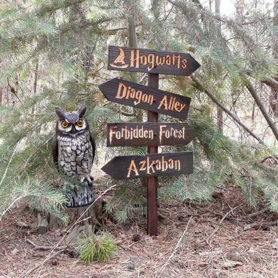 Harry Potter Inspired Lawn Ornament Sign - Hogwarts Diagon Alley Azkaban Forbidden Forest Fantasy Movie Decoration Cedar Wood Holiday Decor