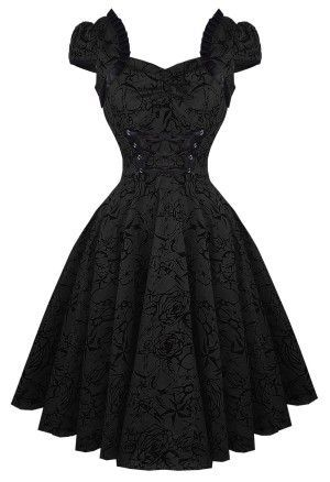 Gorgeous gothic swing / retro / rockabilly black dress. Victorian Flair with a Dark, Sexy Twist!