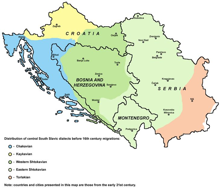 Historical Distribution of Serbo-Croatian dialects (prior to the 16th Century migrations)