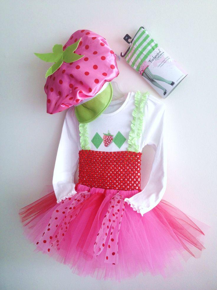 Girls Tutu Strawberry Shortcake (inspired) costume,tights &hat size 4 ,5 ,6 ,7, 8, 10 by JamsGrandmasTutus on Etsy https://www.etsy.com/listing/223232418/girls-tutu-strawberry-shortcake-inspired
