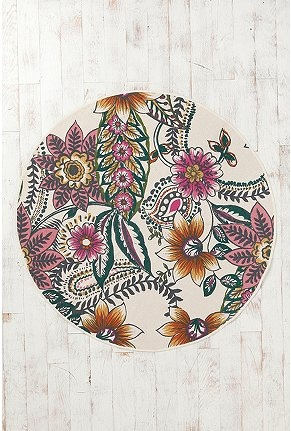 """maybe for the master closet  UrbanOutfitters.com > 60"""" Round Border Floral Rug"""