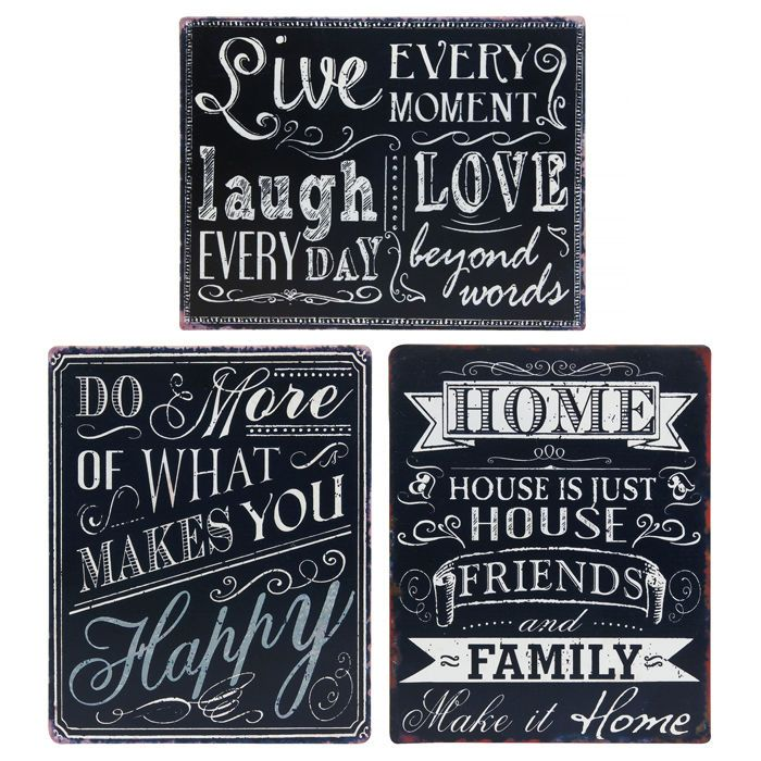 """Vintage Metal Home / Inspirational Quote Plaques x 3 Designs! """"Live Every Moment / Laugh Everyday"""" """"Do More Of What Makes You Happy"""" """"House Friends & Family"""""""