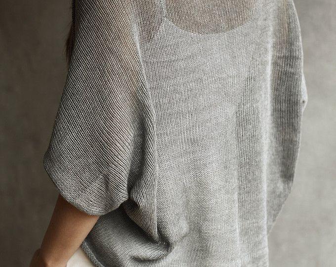 100% algodón punto flojo Shrug / Cardigan vestido Cover-up / mantón de manga corta / estola / suéter / pura franela gris de punto