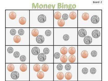 Money Bingo (mixed combinations; pennies, nickels, and dimes)