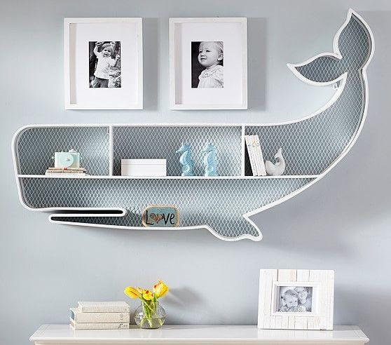 White Iron Whale Shelf For Nautical Nursery Décor
