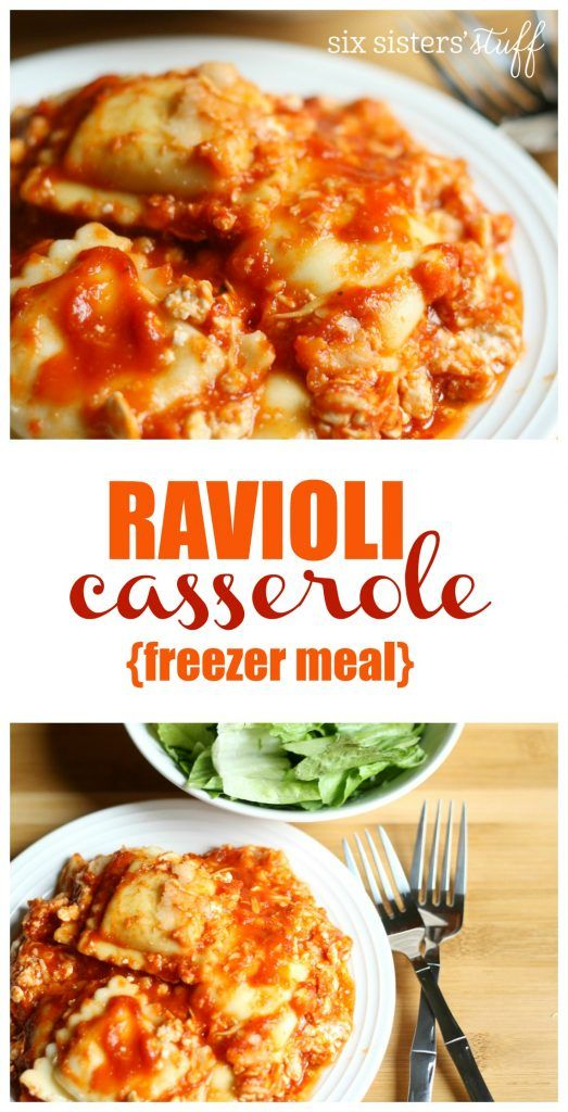 Ravioli Casserole {freezer meal} from Six Sisters' Stuff | With school starting up again, freezer meals are a must! This Ravioli Casserole is so easy, whether you are preparing it for dinner now, or later!