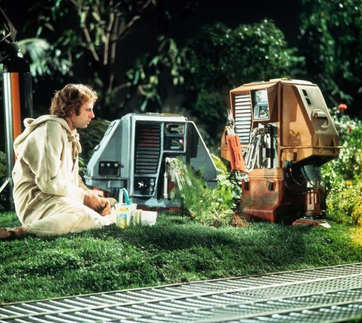 Bio-domes & robots in SILENT RUNNING (1972; dir. Douglas Trumbull) 'Hippies in space, starring Bruce Dern as a botanist and ecologist who talks to plants.'