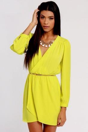 Long neon yellow dress