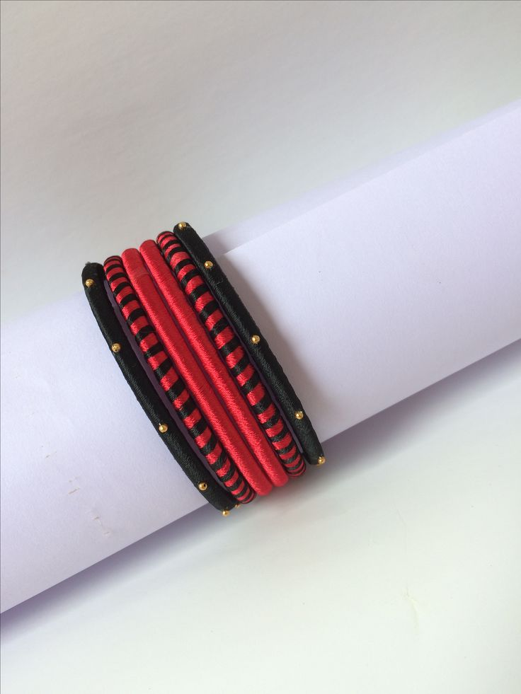Black and red silk thread bangles