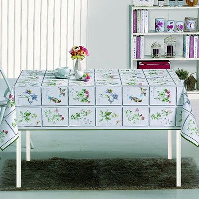 "Ottomanson Essential Meadow Design Indoor/Outdoor Tablecloth Size: 70"" W x 55"" L"