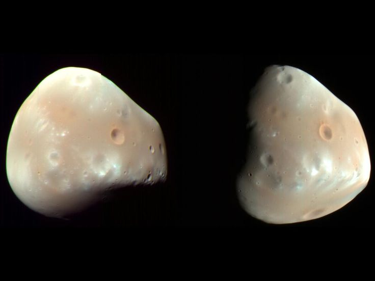 #Astronomy: #Deimos: The Smaller Martian Moon - #Mars is the only terrestrial planet to host multiple moons. The smaller of the 2, the lumpy moon Deimos, bears more resemblance to an asteroid than to most moons in the solar system, a similarity that raises questions about its formation.  On August 12, 1877, the focused search for Martian moons by American astronomer Asaph Hall resulted in the discovery of Deimos. Six days later, he identified the second Martian moon, Phobos.