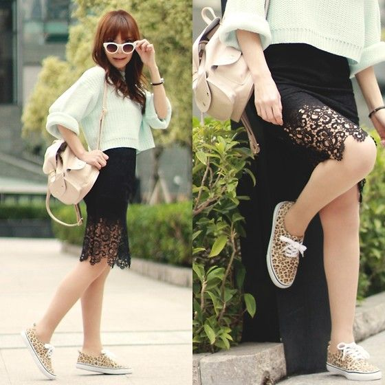 Zara Mint Sweater & Sunglasses, Topshop Backpack, H&M Leopard Print Sneakers, Black Lace Pencil Skirt