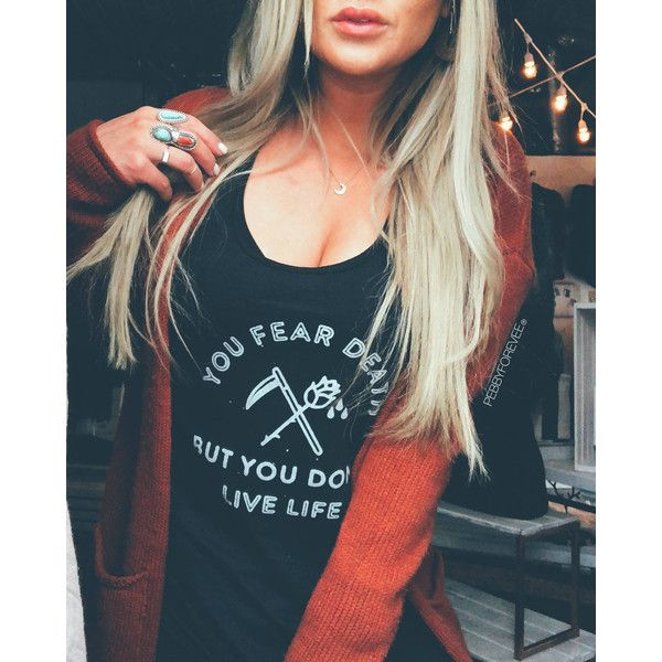 You Fear Death but You Don't Live Life Oversized Tee Boho Shirt Grunge... ($32) ❤ liked on Polyvore featuring tops, t-shirts, grey, women's clothing, oversized tees, tee-shirt, bohemian t shirts, grey tee and oversized t shirt