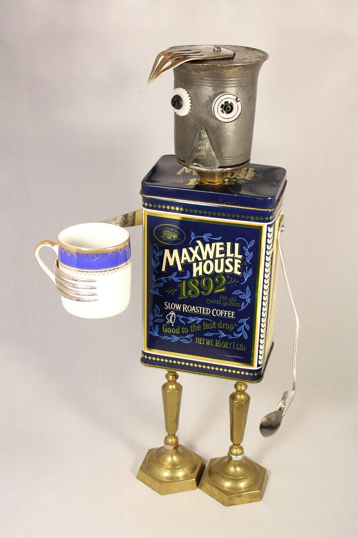 """Maxwell"" ~ Maxwell needs his morning cup of joe to kick start his day! Found object art created by Laurie Schnurer in 2016."