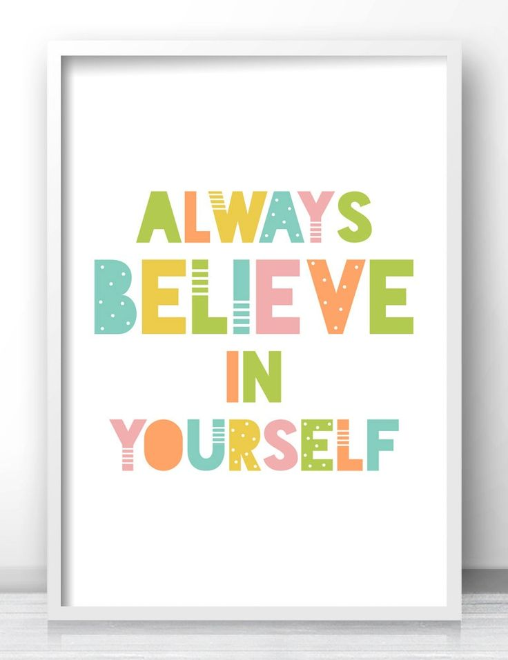 always believe in yourself pastel nursery wall art kids room wall art playroom decor - Kid Prints