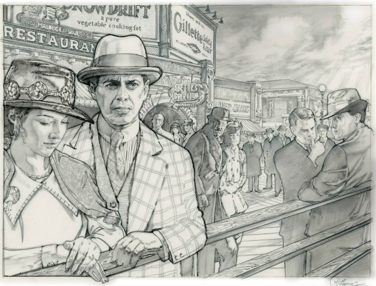 """Mike Butkus """"Here's an old sketch. HBO'S Boardwalk Empire. Prismacolor pencil on dura-lene vellum.Cheers Mike"""""""