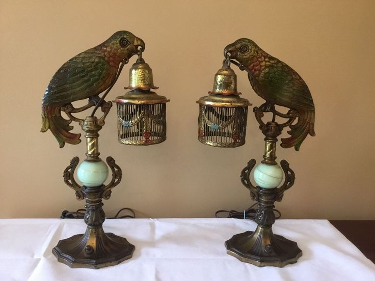 Antique Pair Victorian Edwardian Cast Iron Parrot Birdcage Lamp Right Left in Antiques, Decorative Arts, Lamps | eBay