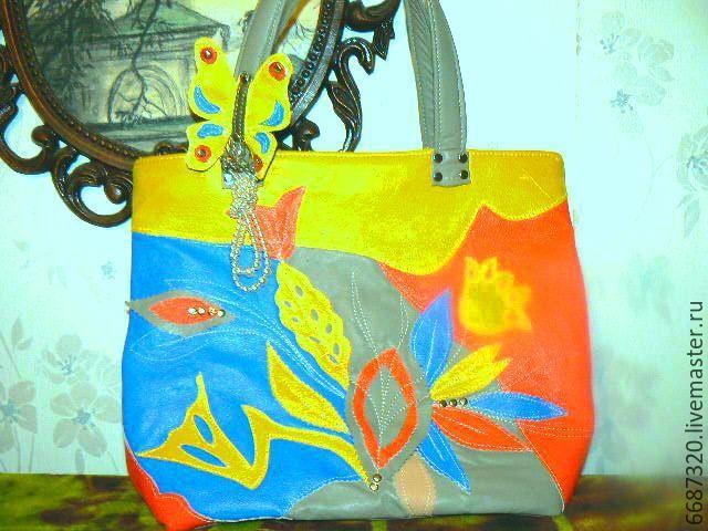 Купить Сумка из кожи Улыбка радуги 2 - серый, абстрактный, сумка из натуральной кожи
