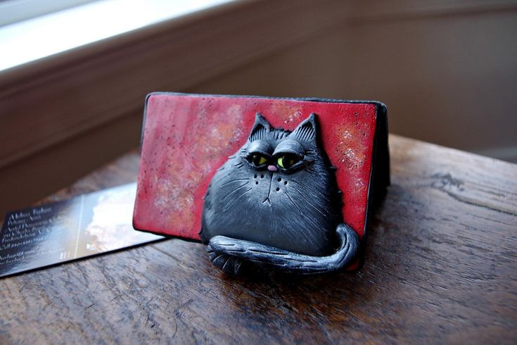 147 best images about polymer clay cats on pinterest for Cat business card holder