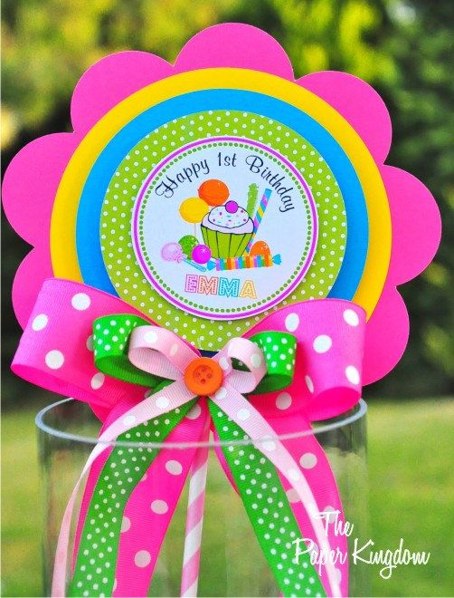 Candyland  Centerpiece, Deluxe Birthday Centerpiece, Personalized Sign