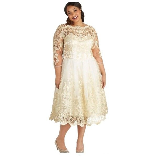 Pre-owned Chi Chi London Gold Mod Cloth Dress ($104) ❤ liked on Polyvore featuring plus size women's fashion, plus size clothing, plus size dresses, dresses, gold, tea length dresses, matron of honor dresses, mod dress, white cocktail dresses and pre owned dresses