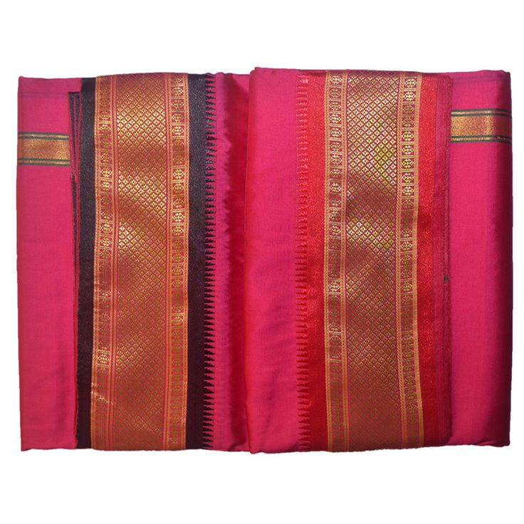 Pink Dhoti With Shawl In Pure Silk With Golden Border Dual