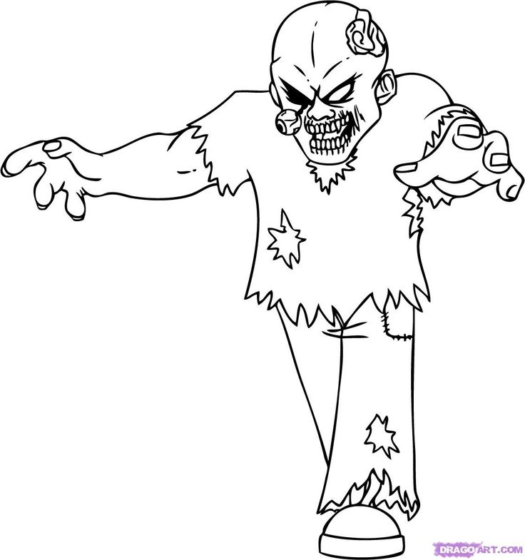 Scary coloring pages of zombies