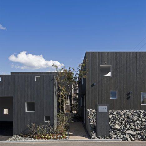 Tsumuji+Hako by UID Architects. Multiple dwelling group with creation of a public 'alley' between.