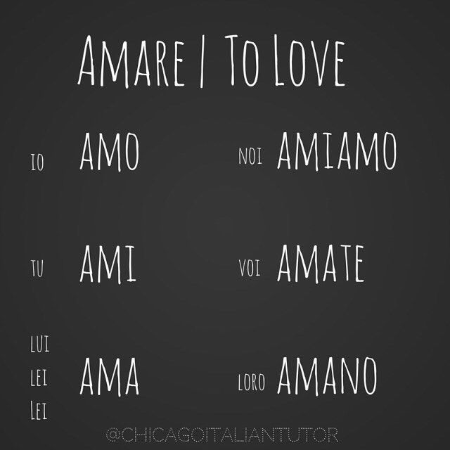 Learning Italian Language ~ amare | to love