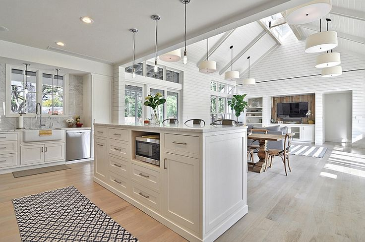 Beautiful kitchen - love the paneling, the colouring, the space and the height... (If only I had the space (and the height) to do it heh?!)