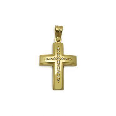 Μοντέρνος βαπτιστικός σταυρός για κορίτσι χρυσός Κ14 με ματ & λουστρέ επιφάνεια και λευκό σειρέ | Βαπτιστικοί σταυροί ΤΣΑΛΔΑΡΗΣ στο Χαλάνδρι #τριάντος #βαπτιστικοί #σταυροί #κορίτσια