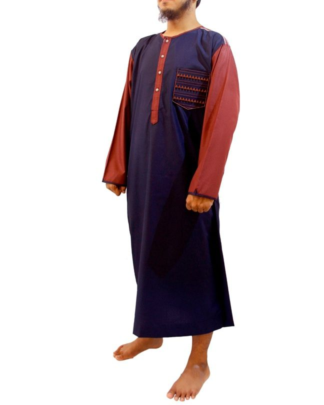 Jubah Pria Samase-Lengan Panjang Kerah Oblong Warna Biru Maroon