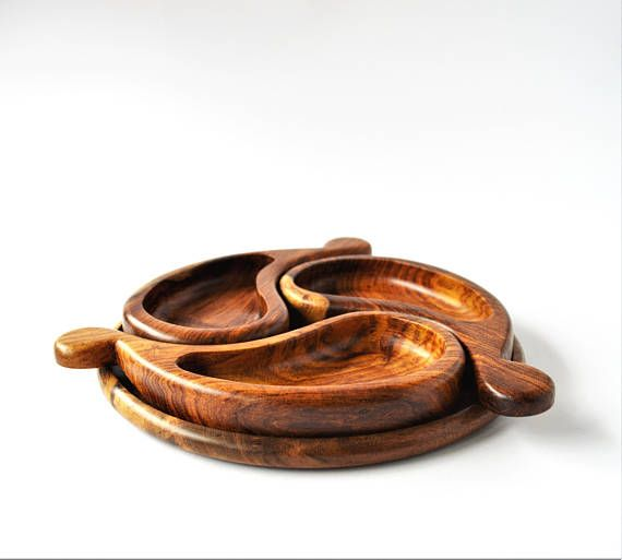 Snack wood plate Handmade bowls tray rosewood Party