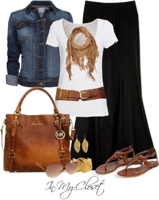 Casual Outfit. Denim jacket, maxi skirt, Michael Kors bag, aviator sunglasses.