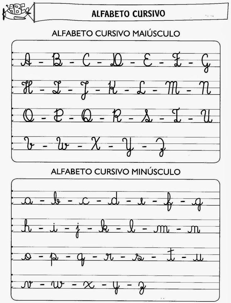 Alfabeto Cursivo Maiúsculo e Minúsculo para Imprimir - QDB