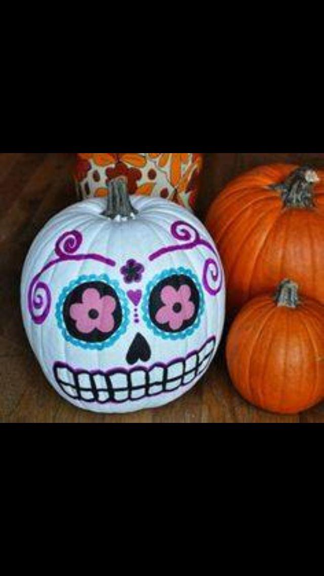 Best 25 sugar skull pumpkin ideas on pinterest for Skull pumpkin carving ideas