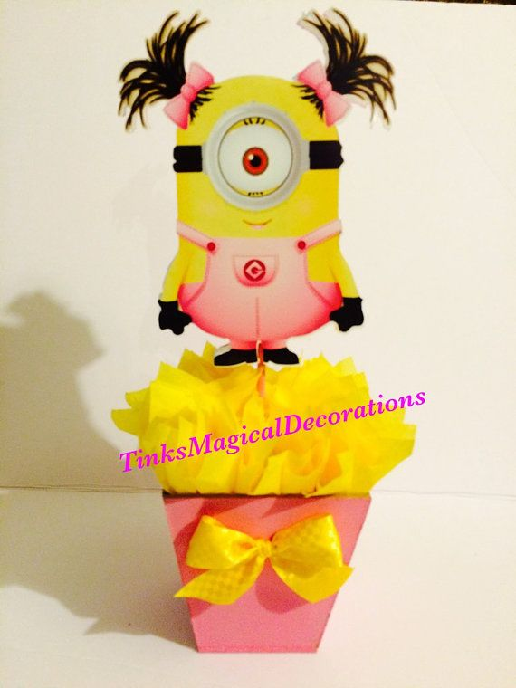 Pink minion centerpiece by TinksMagicalDeco on Etsy